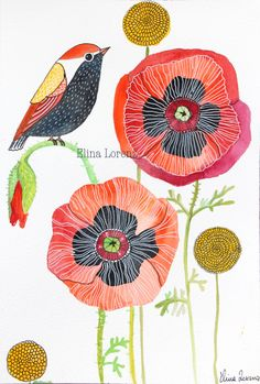 Original Watercolor / Bird Art / Wall Art / Room Decor / Oriental Red Poppies / Flowers / Gift / Nursery Art via Etsy