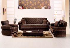 Brown Items   Dark Brown Fabric Modern Convertible Sofa Bed W/Optional Items