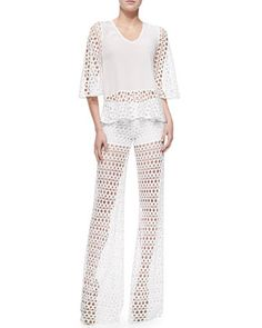 Swindon Netted Cotton Top & Madrid Net-Overlay Hot Pants by Alexis at Neiman Marcus.