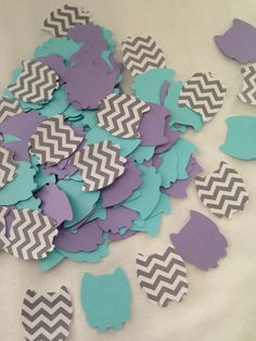 100 Pieces of  LAVENDER, AQUA and Gray CHEVRON Owl Shaped Confetti - Baby Shower/Birthday Party by PinkPaperPalooza on Etsy https://www.etsy.com/listing/215479897/100-pieces-of-lavender-aqua-and-gray
