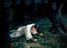 """Then Jesus went with them to the olive grove called Gethsemane, and he said, """"Sit here while I go over there to pray."""""""