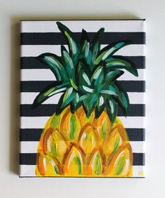 Items similar to Pineapple Art Pineapple Painting Kitchen Art Dining Room Art Bar Cart Fruit Painting Tropical Art Acrylic Painting 810 Canvas on Etsy Cute Canvas Paintings, Easy Canvas Painting, Diy Canvas, Diy Painting, Canvas Art, Painting Walls, Painting Abstract, Canvas Quotes, Canvas Crafts