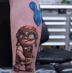Rich Pineda pays tribute to the most tear-inducing of the Pixar films, Up!, with this rad tattoo. #inked #inkedmag #up #pixar #movie #cute #newschool