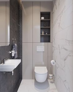 Small bathroom with a ton of hidden back wall storage. Minimal and contemporary // New project by Z E T W Small bathroom with a ton of hidden back wall storage. Minimal and contemporary // New project by Z E T W I X Small Toilet Room, Guest Toilet, Downstairs Toilet, Small Bathroom Storage, Bathroom Design Small, Bathroom Interior Design, Wall Storage, Small Toilet Design, Bath Design