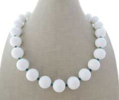 White agate necklace with turquoise, chunky necklace, gemstone choker, beaded…
