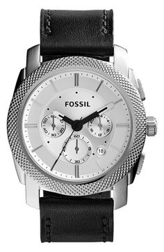 Men's Fossil 'Machine' Chronograph Leather Strap Watch, 44mm