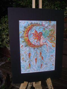 Faerie art,fairy art print,faerie painting,autumn fairy,autumn faerie,fantasy art,faerie art,fairy art,fairy on moon,faerie decor - pinned by pin4etsy.com