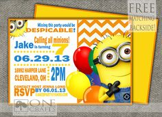 Minion Printable Party Invite $9.00 https://www.etsy.com/shop/onecrafts