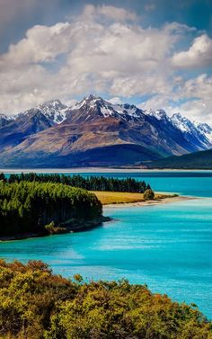 Lake Pukaki with Mt Cook in the background (near Lake Tekapo), South Island, New Zealand ~