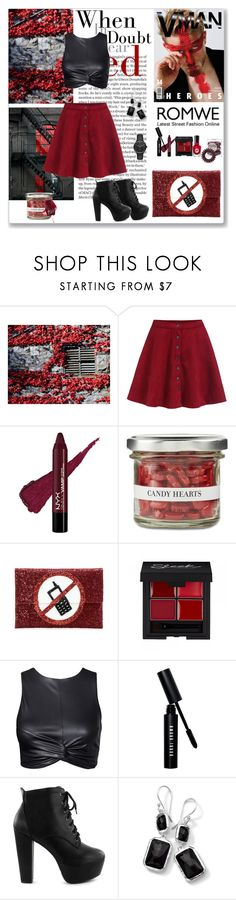 """""""Single-breasted Flare Red Skirt"""" by liudmyla-stoian ❤ liked on Polyvore featuring WALL, Sally Hansen, Invisibobble, Williams-Sonoma, Anya Hindmarch, Bobbi Brown Cosmetics, Nly Shoes, Ippolita and Burberry"""