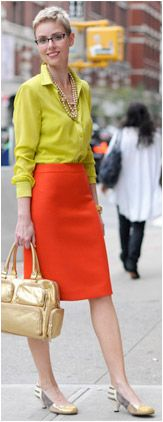 Angie's classic style with orange pencil skirt.