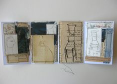Cathy Cullis book - mixed media 10.5cm tall - combining machine embroidery stitch work with monoprint drawing, an original vintage photograph, text from old books, hand dyed fabric, painted papers....