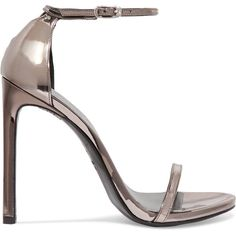Stuart Weitzman Nudist metallic leather sandals (£375) ❤ liked on Polyvore featuring shoes, sandals, strappy sandals, high heeled footwear, leather shoes, leather strap sandals and stiletto sandals