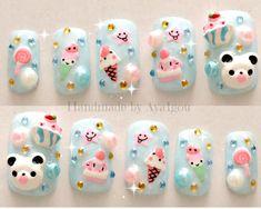 Kawaii nails kuma 3D nails Japanese nail art summer by Aya1gou