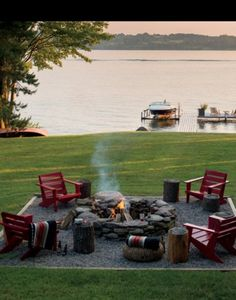 Backyard Fire Pit By The Lake.well it would be front yard fire pit Outside Living, Outdoor Living, Lakeside Living, Outdoor Life, Fire Pit Materials, Fire Pit Backyard, Backyard Seating, Cozy Backyard, Outdoor Seating