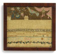 Rare Needlework Sampler, Elizabeth Day Hall (1772-1858), Wallingford, Connecticut, Dated 1791