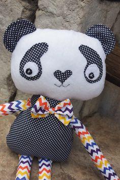 Kawaii Panda Chevron Print Handmade Plush Plushie Toys