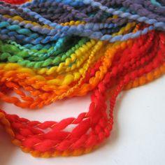 SALE Rainbow Handspun Yarn, Merino Wool, Thread Plied, 100-140 yards, DL004