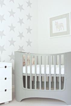 Leander Cot, Coral & Tusk pillows, Starry wall decor & Etsy art.   Nursery Design by Blank Slate Studio. hello@blankslatestudio.com
