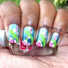 Holo tropical nail art  #nails #nailart #holo #tropical #floral