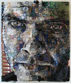 Found Object Assemblage Portraits – Zac Freeman. Remote controls, buttons, film canisters, bottle tops, Altoid Tins, spools, wire, telephone parts, circuits, gears, and hot glue