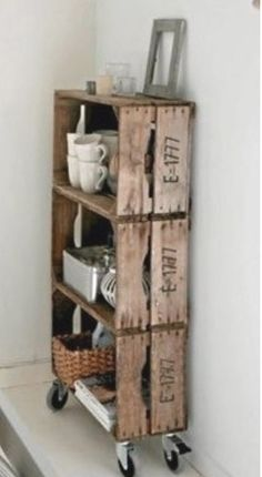 Crate shelves on wheels! Great idea!