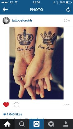 Gorgeous married couple tattoo.. King & Queen
