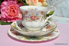 Royal Albert Berkeley pattern vintage bone china teacup, saucer and tea plate trio.