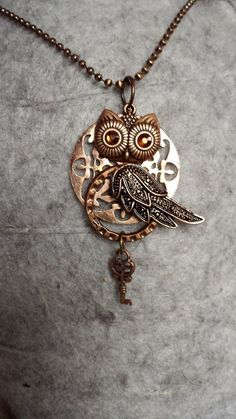 Steampunk Owl Key Necklace by KreationsByKimH on Etsy