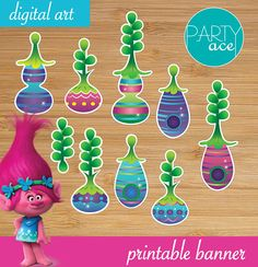 Trolls Forest Village and Happy Birthday Banner Party