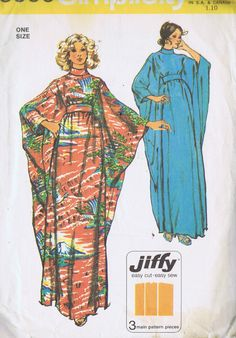 "VINTAGE CAFTAN SEWING PATTERN 1970s SIMPLICITY 5900 ONE SIZE BUST 32.5 - 38"" CUT 