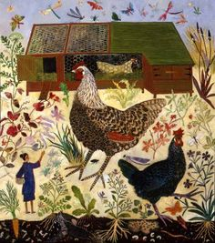 ANNA PUGH - Folk Artist I love this artist's work and have four of her prints. Currently her work can only be purchased from Lucy B Campbell Fine Art. Art Painting, Animal Art, American Folk Art, Naive Art, Painting, Illustration Art, Art, Folk, Chicken Art