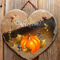 Joyces Creative Country - Custom painted saws, slates and tinware Autumn Painting, Tole Painting, Diy Painting, Slate Art, Slate Rock, Painted Slate, Painted Rocks, Hand Painted, Heart Painting