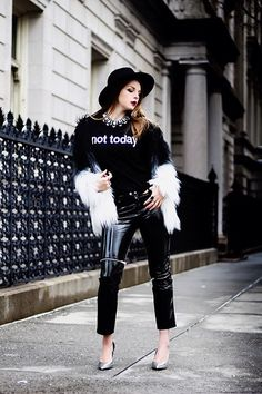 Get this look: http://lb.nu/look/8625607  More looks by Julia: http://lb.nu/juliafashionista  Items in this look:  Sheinside Faux Fur Coat, Sheinside Top, Zara Pants, Forever 21 Hat, Zara Shoes   #artistic #edgy #street