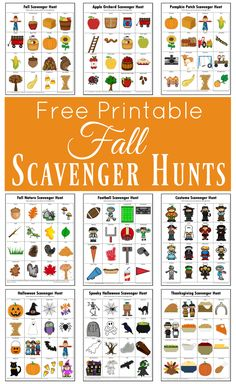 These free printable fall scavenger hunts are great way to get kids engaged in an activity and exploring the world around them while having fun. Thesmes include: fall, apple orchard, pumpkin patch, na Autumn Activities For Kids, Fall Preschool, Halloween Activities, Preschool Activities, September Preschool, Seasons Activities, Nature Activities, Toddler Preschool, Outdoor Scavenger Hunts