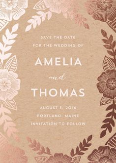 """""""Bold Floral"""" - Vintage, Floral & Botanical Save The Date Cards in Kraft by Katharine Watson. Floral Save The Dates, Kraft Wedding Invitations, Floral Wedding Invitations, Wedding Logos, Wedding Cards, Wedding Stuff, Wallpaper Wedding, Wedding Invitation Inspiration, Invitations"""