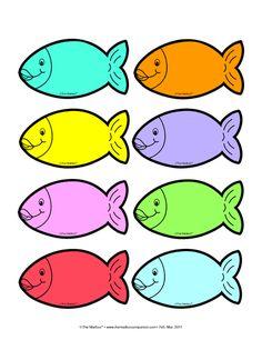 Preschool Fish-Shaped Name Badge Pattern - Preschool Children Akctivitiys Counting Activities, Preschool Learning Activities, Preschool Printables, Color Activities, Preschool Names, Preschool Colors, Cartoon Sea Animals, Scrapbook Images, Fish Patterns