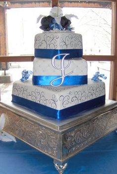 Royal Blue Three Tier Square Wedding Cake DessertEdgeCakes Budget Cakes Utah Salt