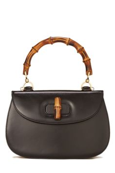 Black Leather Bamboo Top Handle Bag 13779620ec