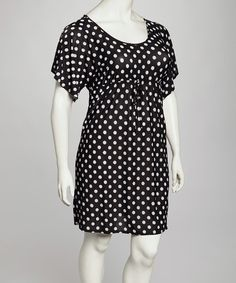 Black & White Polka Dot Dress - Plus. Zulily