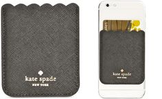 Affix extra chic style (and functionality) to your phone with kate spade new york's leather card holder, which effortlessly adheres to the back of your phone so you can stow a couple of cards or essen