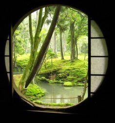 "Kyoto Moss Garden as seen through a circular ""moon window"". So serene. isnt this nature beautiful?"