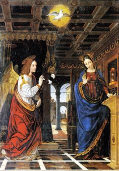 Happy feast of the Annunciation! Behold, I am the handmaid of the Lord. Christian Images, Christian Art, Catholic Art, Religious Art, Feast Of The Annunciation, Happy Feast, Renaissance Kunst, Jesus E Maria, Archangel Gabriel