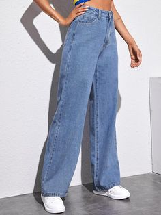 Indie Outfits, Cute Casual Outfits, Fashion Outfits, High Waisted Baggy Jeans, Wide Leg Jeans, Baggy Clothes, Baggy Pants Outfit, Vetement Fashion, Mode Style