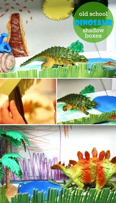 DIY Dinosaur Shadow Box ~ perfect craft to get kids coloring, cutting, glueing and using their imaginations!