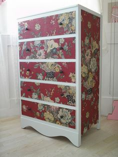 fabric covered drawers by Casper James, via Flickr- love the idea, maybe with less contrast between material and painted trim?