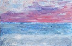 """Artist: Lijda Zuijderduijn; Acrylic on canvas. """"Calm sea at sunset"""""""