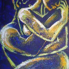 Carmen Tyrrell Lovers Night Of Passion 1 Painting Acrylic On Canvas - Painting Black Couple Art, Black Love Art, Art Of Love, Kunst Inspo, Art Inspo, Arte Latina, Figurative Kunst, Painting Edges, Figure Painting