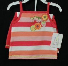 Absorba 2-Piece 100% Cotton Top & Shorts Set Baby Girls Sz 12 Months #FreeShipping
