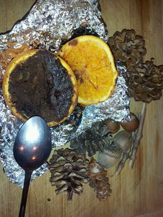 Brownie mix in an orange roasted on the campfire...yum